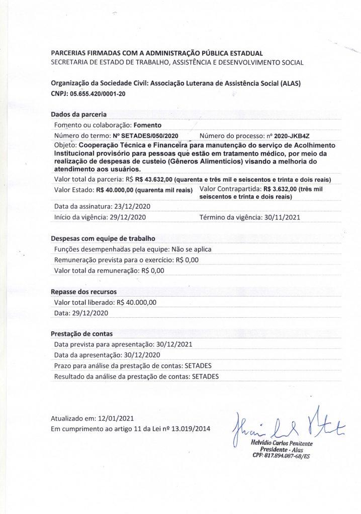 Parceria entre SETADES e ALAS -12012021